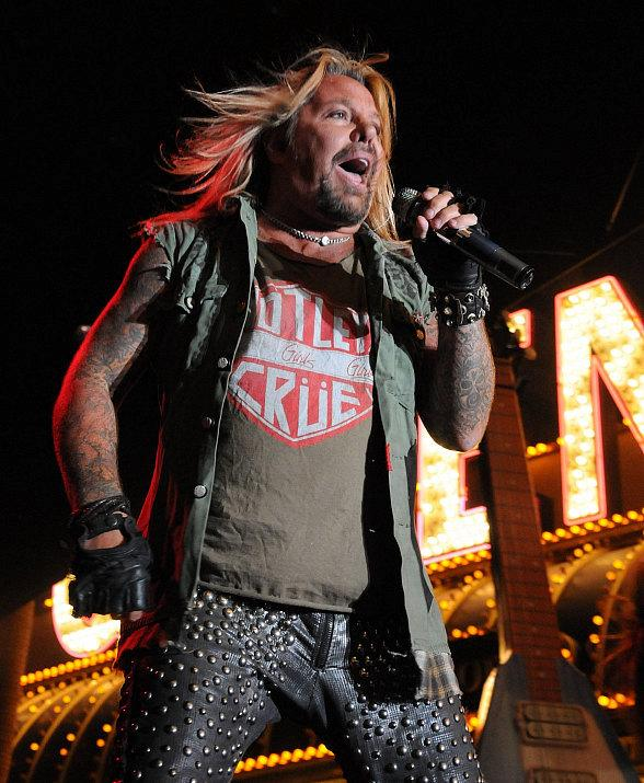 Vince Neil performs at Fremont Street Experience in Las Vegas