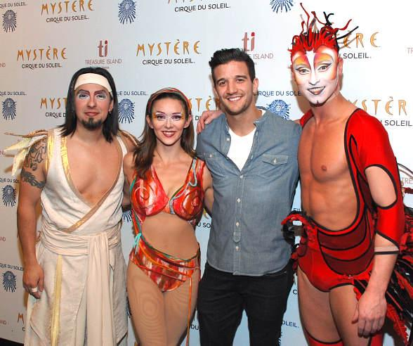 Mark Ballas with the cast of Mystère by Cirque du Soleil at Treasure Island Las Vegas