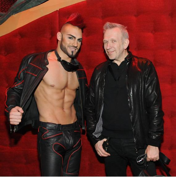 Jean Paul Gaultier with one of the sexy men of Zumanity – The Sensual Side of Cirque du Soleil at New York-New York Hotel & Casino