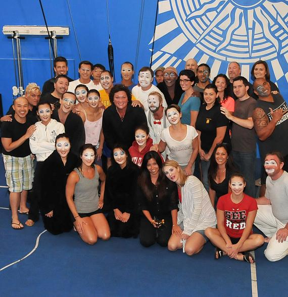 "Dot Jones with the cast of  ""O"" by Cirque du Soleil at Bellagio Hotel & Casino"
