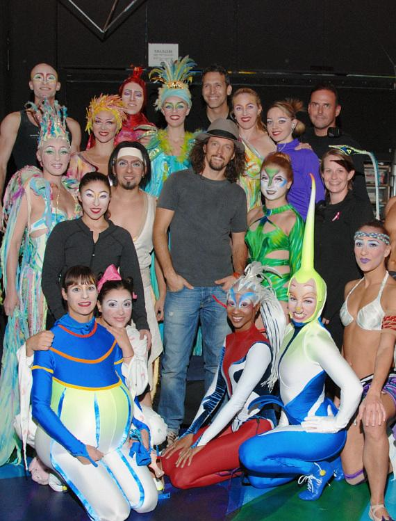 Jason Mraz and members of the cast of Mystère by Cirque du Soleil at Treasure Island Las Vegas
