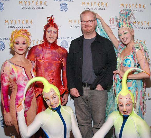 Jim Gaffigan and members of the cast of Mystère by Cirque du Soleil at Treasure Island Las Vegas