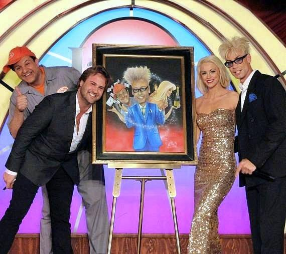 """Douglas """"Lefty"""" Leferovich, Jimmy C. Mulligan, Chloe Louise Crawford and Murray SawChuck with Mulligan's painting of the cast"""