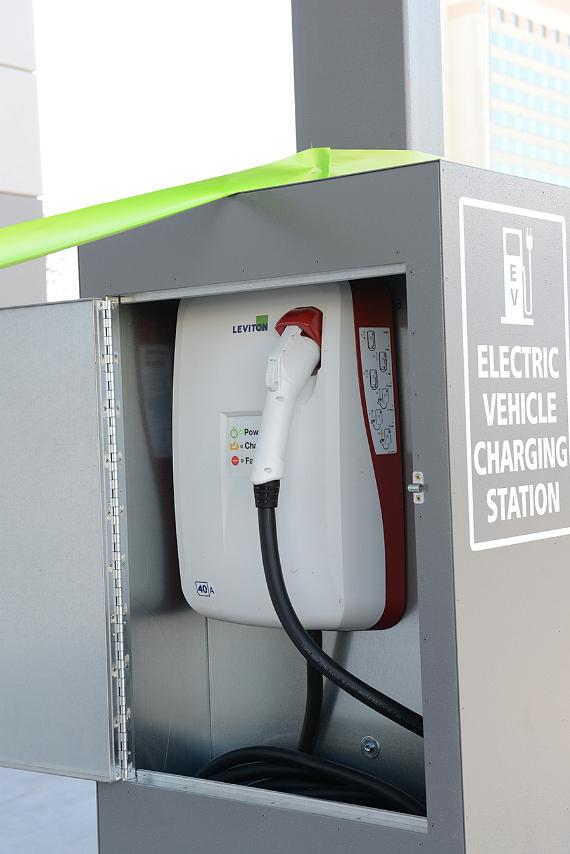 Electronic vehicle charging stations at the Las Vegas Convention Center