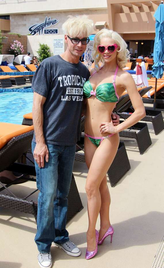 Magician Murray SawChuck with Chloe Crawford at Sapphire Pool & Dayclub in Las Vegas