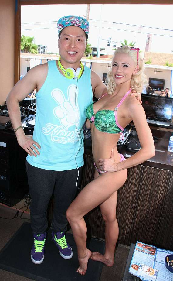 Chloe Crawford with DJ Dokkaebi at Sapphire Pool & Day Club