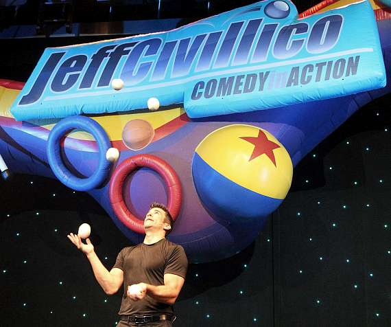 Jeff Civillico juggles several balls during his 2nd Anniversary Show at The Quad