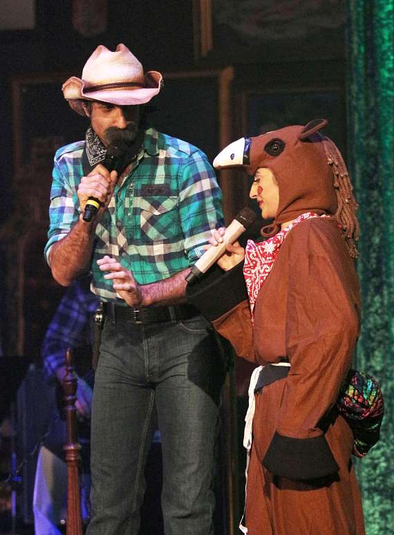 The Gazillionaire and Penny Pibbets performing as Cowboy Summerlin Sam and his trusty steed Phallus