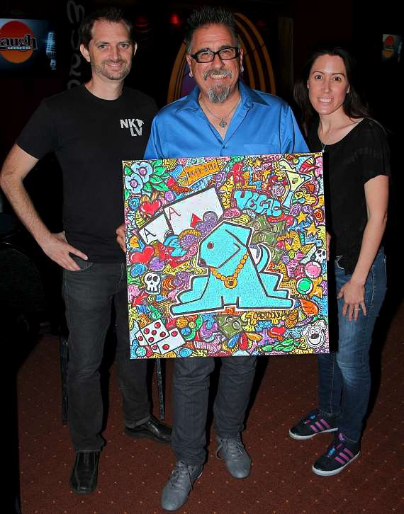 Founders of NKLV, Bryce and Jennifer with artist Tommy Vinci