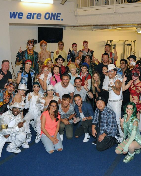 Liam Payne of One Direction with the cast of Michael Jackson ONE by Cirque du Soleil at Mandalay Bay Resort and Casino