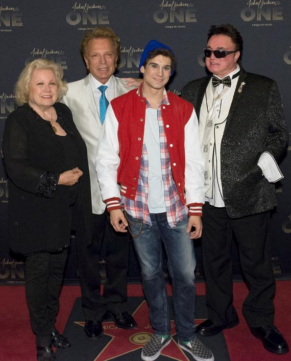 Siegfried & Roy and Princess Irene with Michael Jackson ONE artist and magician Xavier Mortimer