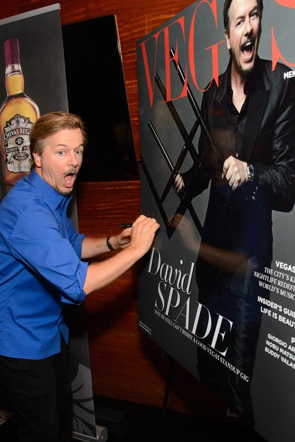 Standup Comedian David Spade Celebrates Landing the Cover of Vegas Magazine at Chef Brian Massie's STACK Restaurant & Bar