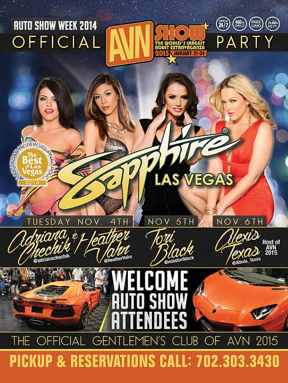 Adult Film Stars Adriana Chechik, Heather Vahn, Tori Black and Alexis Texas to Host Sapphire Las Vegas Official AVN Parties Nov. 4-6 During SEMA Week