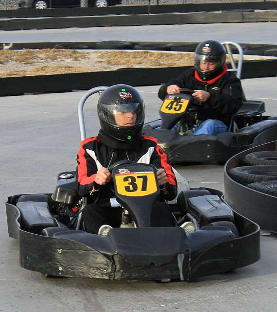 Mike Hammer racing in Go Kart