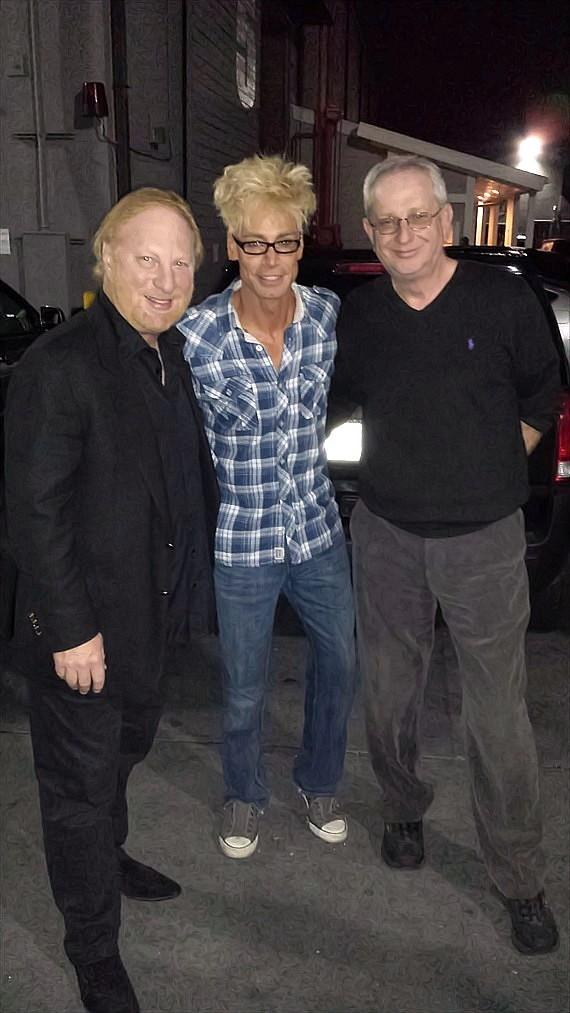 Murray (c) with David McKenzie, the owner of Associated Television International who is producing the series , and David Martin one of the Executive Producers