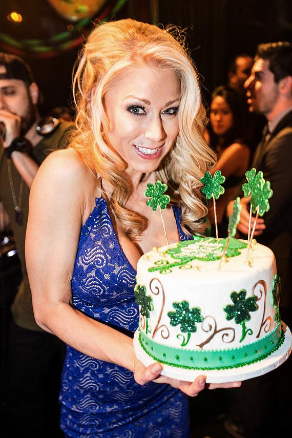 Katie Morgan with her birthday cake at Body English at Hard Rock Hotel Las Vegas