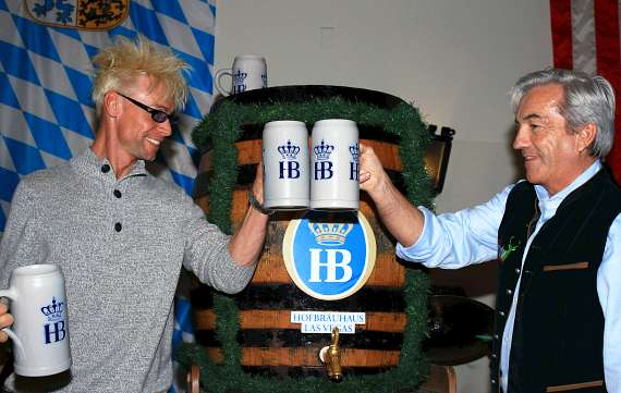 A toast to Dark Wheat beer at Hofbräuhaus Las Vegas