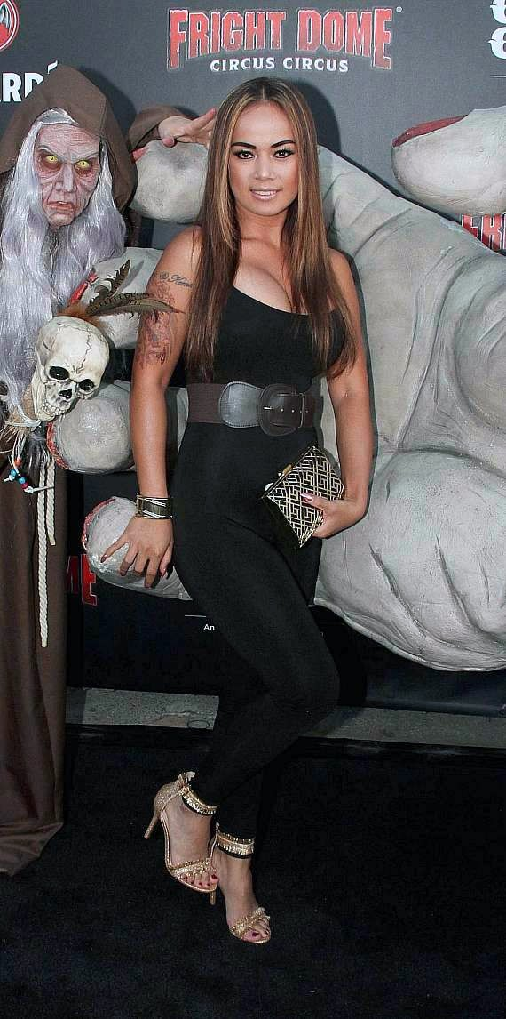 Fitness enthusiast and fashion model on Black Carpet at Fright Dome