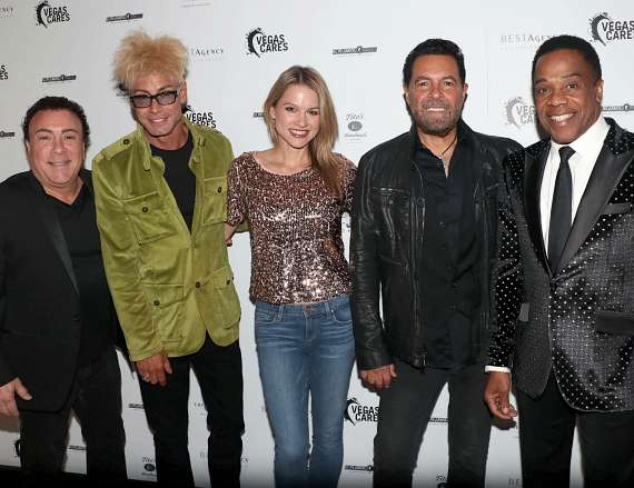 "Frankie Scinta, Murray SawChuck, Jewel, Clint Holmes and Earl Turner at ""Vegas Cares"" Benefit at The Venetian Las Vegas"