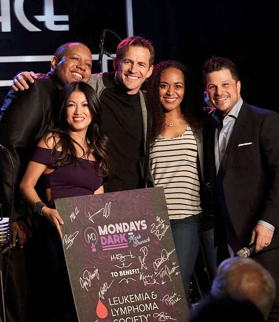 Backstage photo of cast at Mondays Dark on March 5