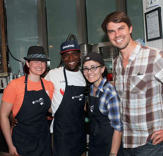 Luke's Lobster Company President Ben Conniff (R) and his Team in Las Vegas