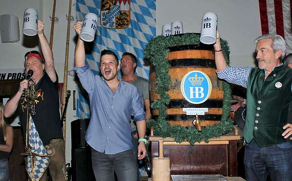 Mark Shunock and crew celebrate the tapping of Oktoberfestbier beer at Hofbräuhaus Las Vegas