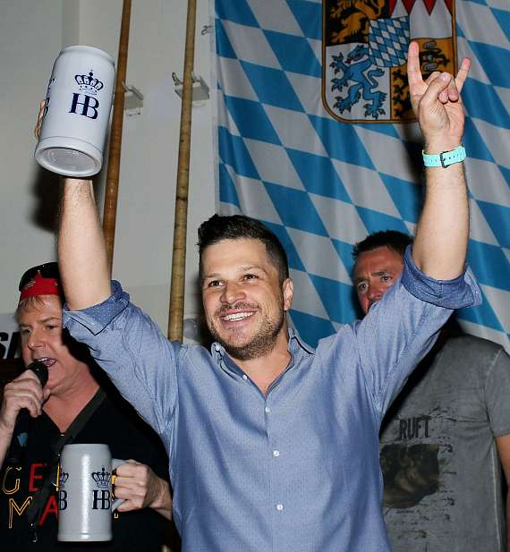 Mark Shunock celebrates the successful tapping of  Oktoberfestbier beer at Hofbräuhaus Las Vegas
