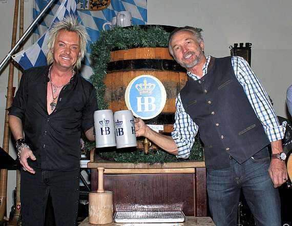Zowie Bowie after tapping the keg at Hofbrauhaus Las Vegas