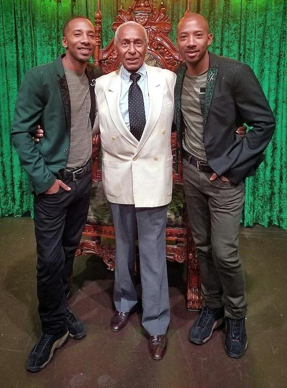 Tap dancing legend Arthur Duncan (C) with Absinthe stars Sean and John Scott