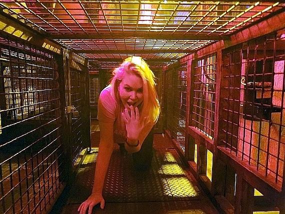 Model and Actress Shanna Moakler inside the Official SAW Escape Room