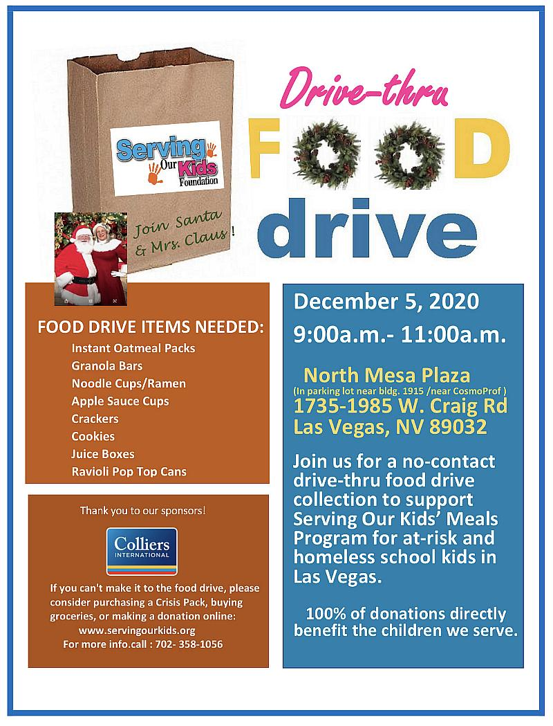 Santa to Greet Supporters in Contactless Food Drive for Serving Our Kids Foundation at North Mesa Plaza II, Dec. 5