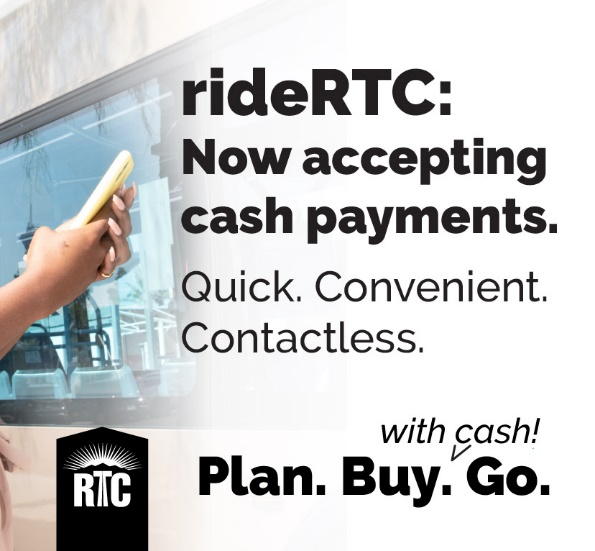 RTC Launches Contactless Cash Payment Option for Transit Customers in Smartphone App, RideRTC
