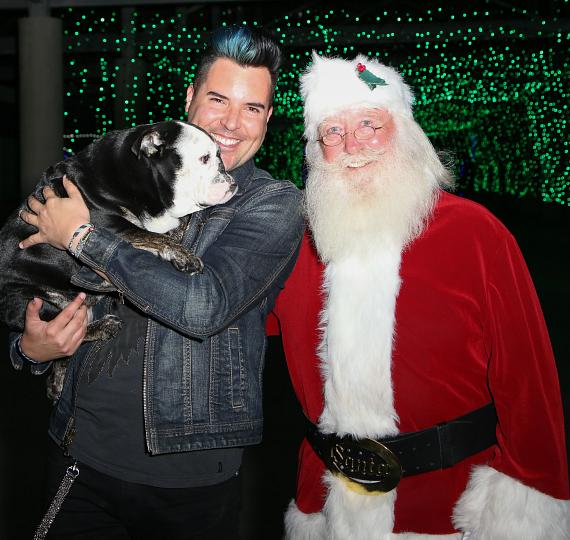 Frankie Moreno, Santa and Stanzie the Bulldog