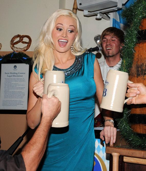 Holly Madison taps the Oktoberfest Keg at Hofbräuhaus Las Vegas