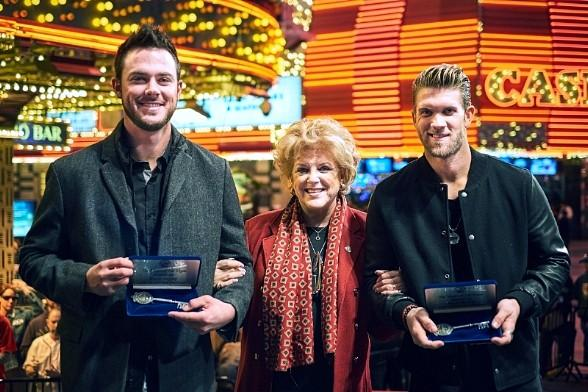 "City of Las Vegas Celebrates ""Native Son"" Baseball Stars Bryce Harper and Kris Bryant with Keys to the City at Fremont Street Experience"