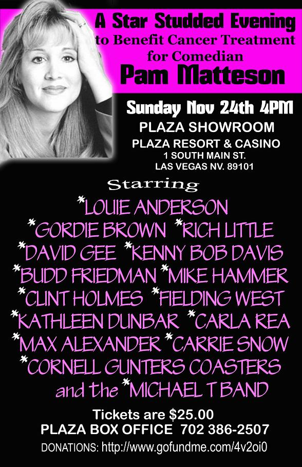 Star Studded Evening to Benefit Cancer Treatment for Comedian Pam Matteson at The Plaza Nov. 24