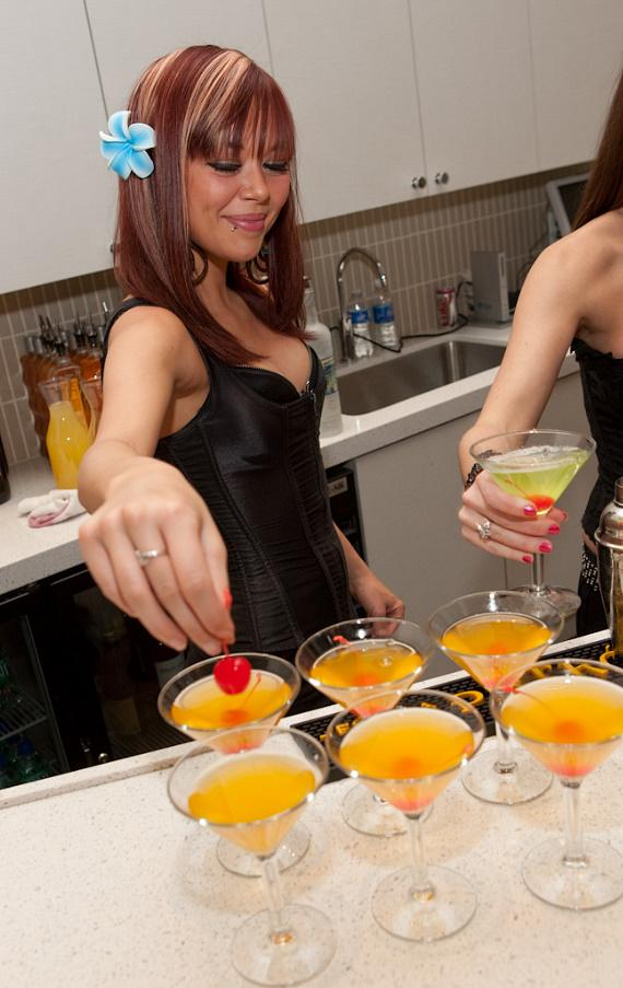 Mango martinis being made for Eleven Spa Vegas anniversary party