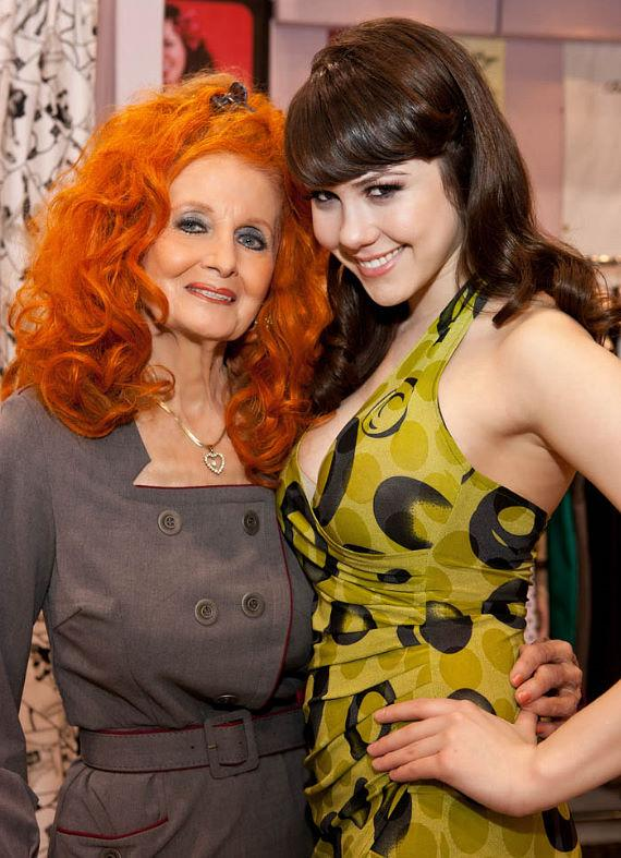 Playboy Playmate and Bettie Page Clothing Spokesmodel Claire Sinclair (r) meets up with Burlesque Legend Tempest Storm (l) at MAGIC