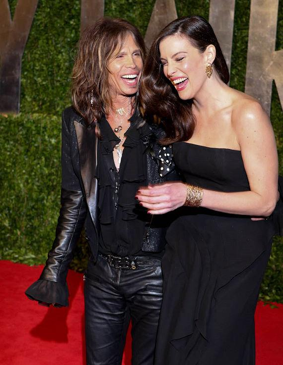 Steven Tyler and Daughter Liv Tyler show their striking resemblance on the carpet at The Vanity Fair Oscar Party in Los Angeles, CA