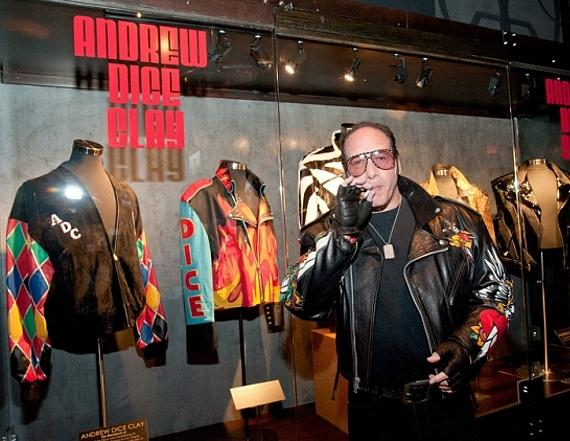 Andrew Dice Clay at displayy case in Hard Rock Hotel Las Vegas