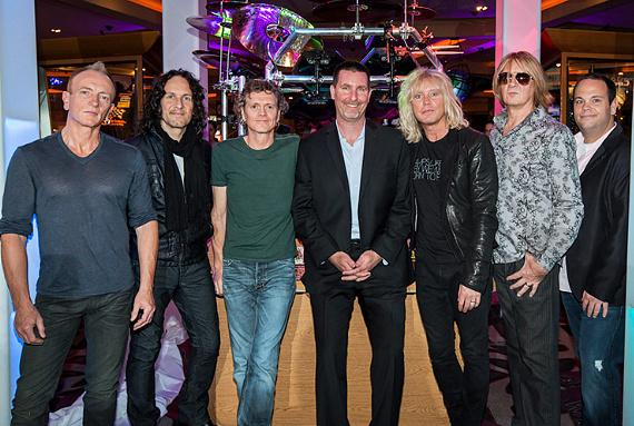 Def Leppard Band Members Pose with Paul Davis of Hard Rock Hotel & Casino and Bobby Reynolds of AEG in honor of residency VIVA Hysteria!