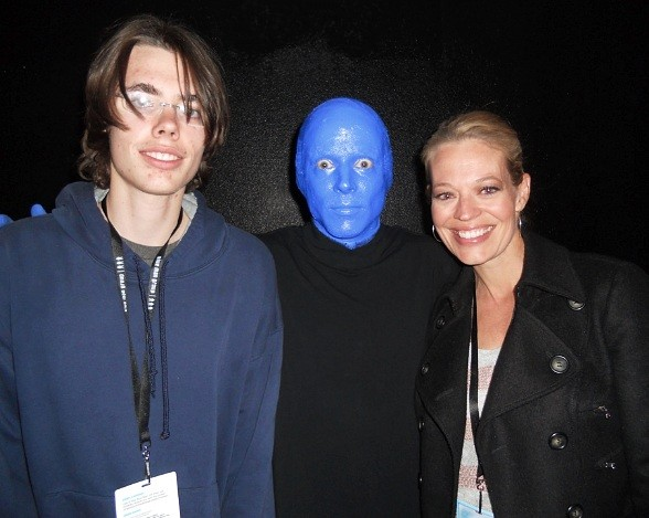 Jeri Ryan and her son at Blue Man Group