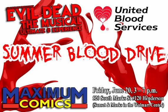 Blood Drive being held on Friday, June 20, from 3 - 7 p.m. at MaximuM Comics