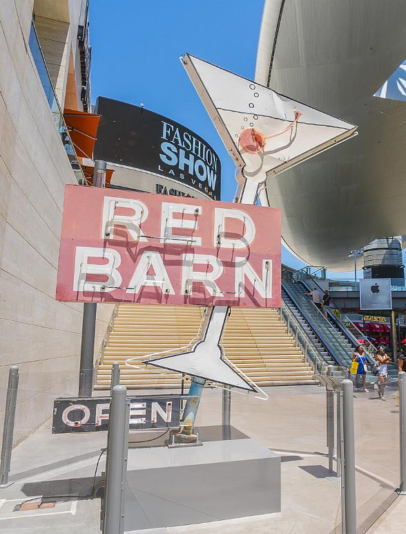 Neon Museum's Red Barn Sign Now Displayed on The Plaza at Fashion Show
