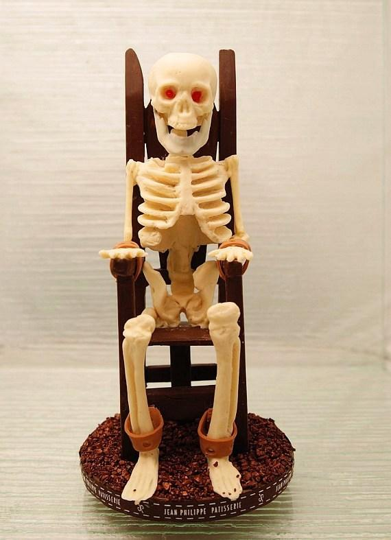 Skeleton sitting in an electric chair