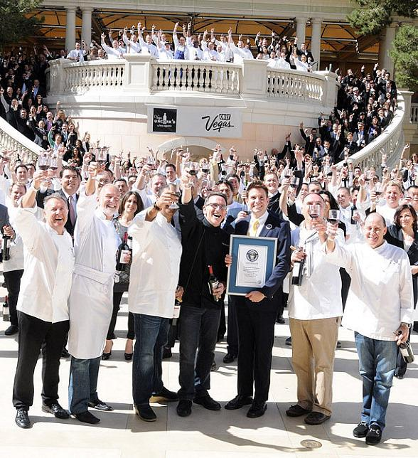 Vegas Uncork'd Breaks Guinness World Record by Uncorking 300 Bottles of Wine Simultaneously