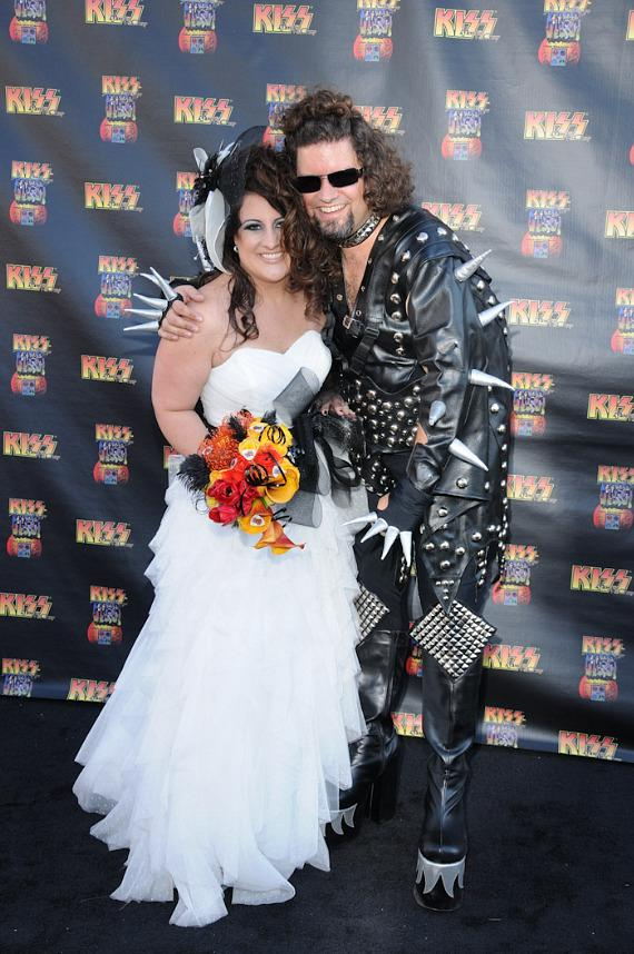 Wedding couple Natasha Fagen and David Howard at KISS by Monster Mini Golf Grand Opening in Las Vegas