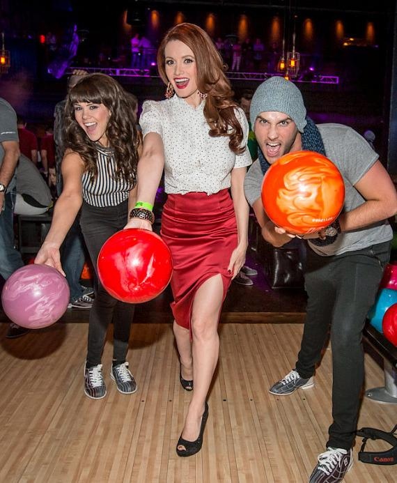 Claire Sinclair, Holly Madison and Josh Strickland at Brooklyn Bowl Las Vegas