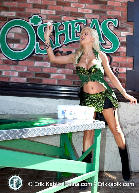"Brian ""Lucky"" Thomas and Holly Madison play Beer Pong at O'Sheas"