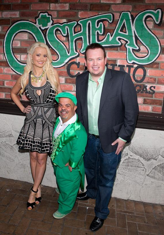 "Holly Madison with Brian ""Lucky"" Thomas and magician Nathan Burton at O'Sheas in Las Vegas"